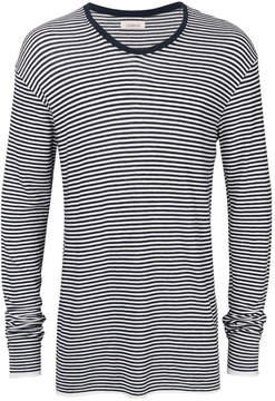 Laneus striped V-neck jumper