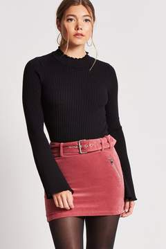 Forever 21 Faux Suede Belted Mini Skirt