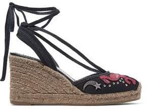 Marc Jacobs Nathalie Embellished Appliquéd Canvas Wedge Espadrilles
