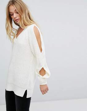 Fashion Union V Neck Knitted Sweater With Cut Outs