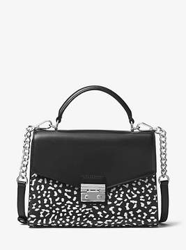 Michael Kors Sloan Leopard Leather Satchel - WHITE - STYLE