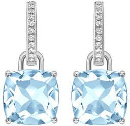 Blue 18k White Gold Topaz & Diamond Drop Earrings