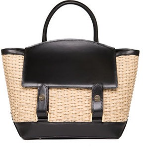 Sacai Leather & Raffia Flap-Top Tote Bag, Neutral Pattern