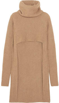 Balmain Cutout Ribbed Wool Turtleneck Sweater - Beige