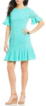 Isaac Mizrahi Imnyc IMNYC Eyelet Bell Sleeve Flounce Hem Fitted Sheath Dress