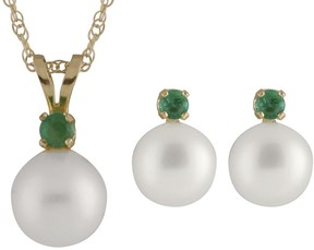 Bella Pearl 14K Gold Sliding Freshwater Pearl and Emerald Pendant and Earring Set