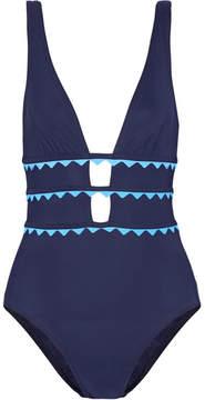 Karla Colletto New Wave Appliquéd Cutout Swimsuit - Storm blue
