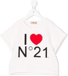 No.21 Kids embellished printed T-shirt