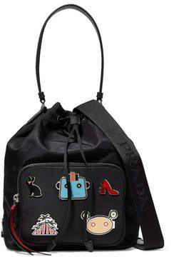 Prada Embellished Shell And Textured-leather Shoulder Bag - Black