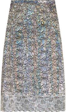 Christopher Kane Metallic Lace Midi Skirt - Silver