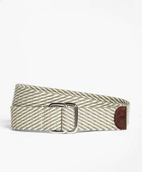 Brooks Brothers Striped Cotton D-Ring Belt