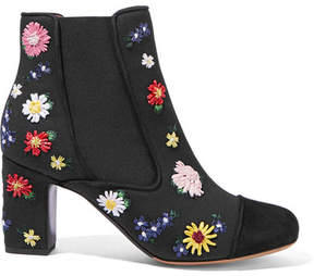 Tabitha Simmons Micki Meadow Suede-paneled Embroidered Canvas Ankle Boots - Black