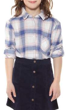 Dex Girl's Plaid One Pocket Cotton Collared Shirt
