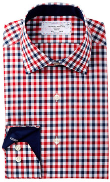 Lorenzo Uomo Check Print Trim Fit Dress Shirt