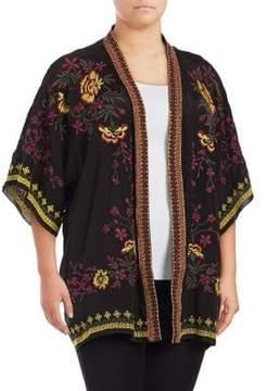 Context Plus Floral-Embroidered Kimono