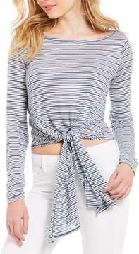 Chelsea & Violet Striped Tie Front Linen Jersey Top