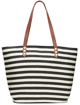 Women's San Diego Hat Company Stripe Tote Bag with PU Trim BSB1350