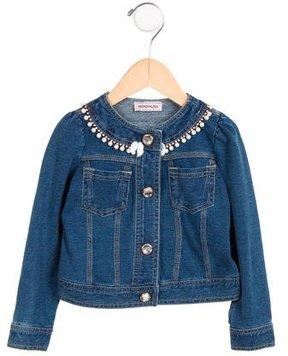 MonnaLisa Girls' Embellished Denim Jacket