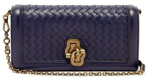 Bottega Veneta Knot Intrecciato Woven Leather Clutch - Womens - Navy