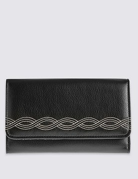 Faux Leather Rope Stitch Large Purse with CardsafeTM