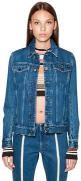 Diesel Black Gold Cotton Denim Jacket With Raw Cut Detail