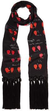 Alexander McQueen Tasseled Printed Silk Crepe De Chine Scarf - Black