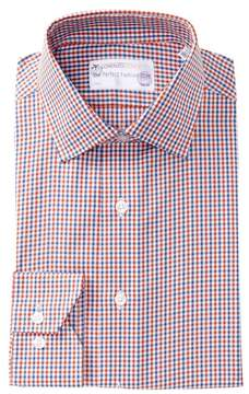Lorenzo Uomo Textured Gingham Trim Fit Dress Shirt