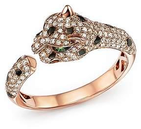 Bloomingdale's Diamond and Tsavorite Panther Ring in 14K Rose Gold