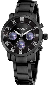 Akribos XXIV Akribos Black Dial Chronograph Stainless Steel Ladies Watch AK623BK