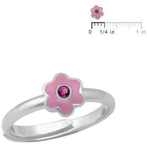 Ice Girls Silver Enameled July Birthstone Flower Adjustable RIng (Size 3 to 7)