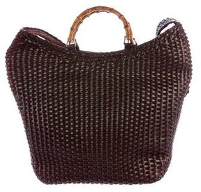 Gucci Bamboo Handle Woven Hobo - BROWN - STYLE