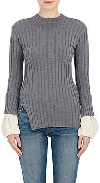 08sircus Women's Contrast-Cuffs Rib-Knit Wool Sweater