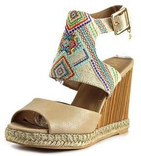Nanette Lepore France Women Open Toe Canvas Multi Color Wedge Sandal.