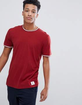 Abercrombie & Fitch Varsity Tipped Ringer T-Shirt in Red