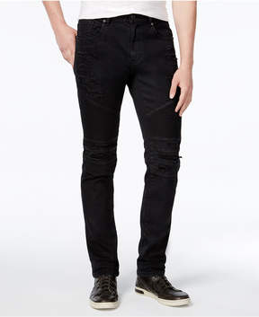 Reason Men's Slim-Fit Leroy Waxed Denim Black Moto Jeans