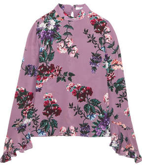 Erdem Lindsey Floral-print Silk-chiffon Blouse - Purple