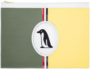 Thom Browne Green Medium Penguin Icon Document Holder