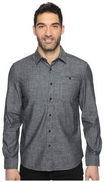 Kenneth Cole Sportswear Long Sleeve Button Down Collar Solid Flannel Men's Long Sleeve Button Up