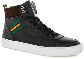Topman Black Leather Premium Hi Tops