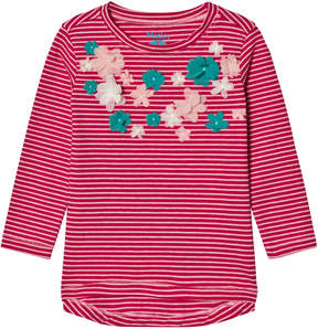 Hatley Pink Flower Applique Stripe Tee
