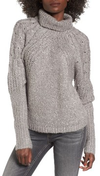 BP Women's Studded Cable Sleeve Turtleneck Sweater