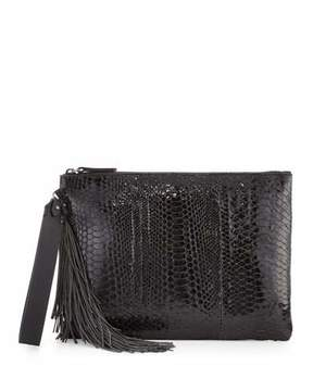 Brunello Cucinelli Python Monili-Tassel Wristlet Bag, Black