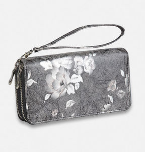 Avenue Muted Floral Double Zip Wristlet