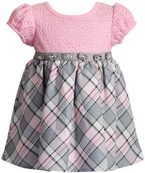 Youngland Baby Girl Plaid & Crochet Lace Dress