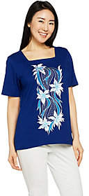 Bob Mackie Bob Mackie's Square Neck Floral EmbroideredKnit Top