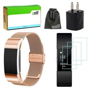 Fitbit EEEkit EEEKit for Charge 2,Milanese Stainless Steel Strap Replacement Band,3 Pcs HD Clear Screen Protector, Wall Charger