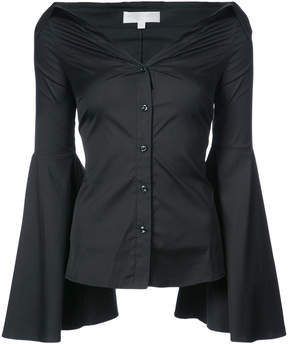 Caroline Constas open collar shirt with fluted sleeves
