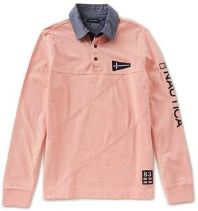 Nautica Slim Fit Pieced Signature Long Sleeve Polo Shirt