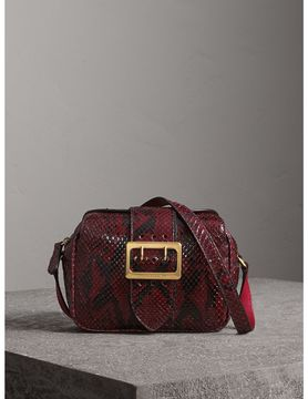 Burberry The Small Buckle Crossbody Bag in Python - BURGUNDY RED - STYLE