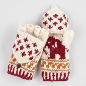 World Market Red Wool Elephant Convertible Gloves